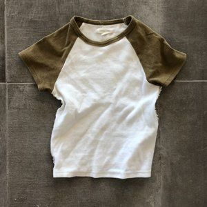 Olive Green and White Cropped Baby Tee
